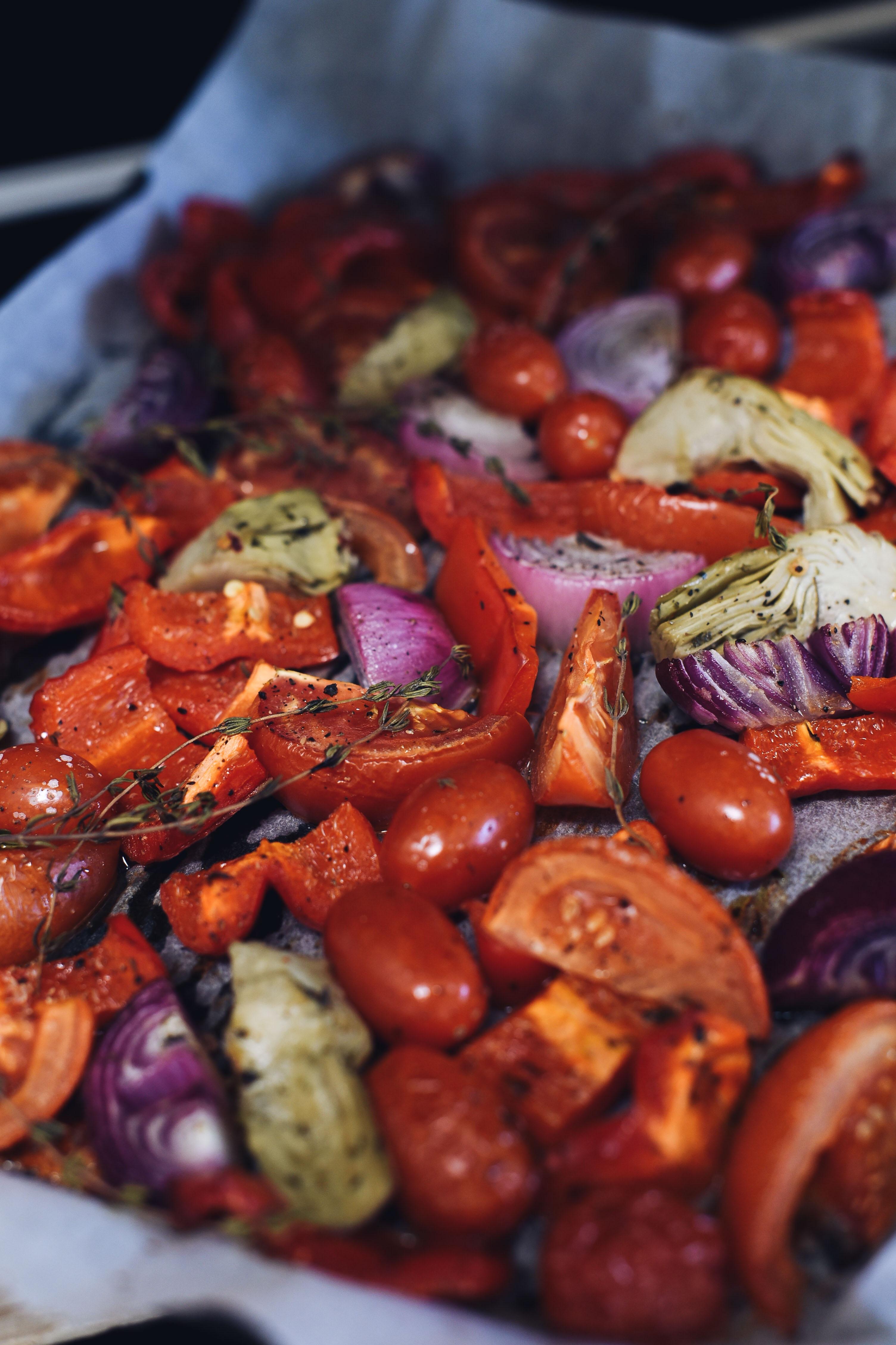 acompañamiento para carnes tomates y pimientos asados