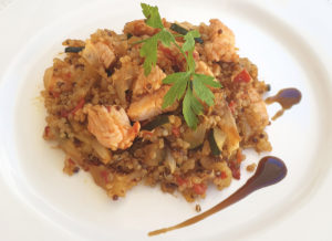 Salteado de quinoa y pechuga de pavo
