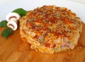 Pastel de pasta filo con carne de pincho moruno y espinacas
