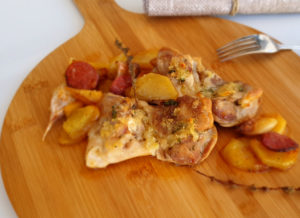 Contramuslos de pollo al ajillo con chorizo de La Abuela Marga